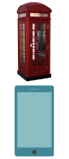 Contact us symbols, phone booth and smartphone
