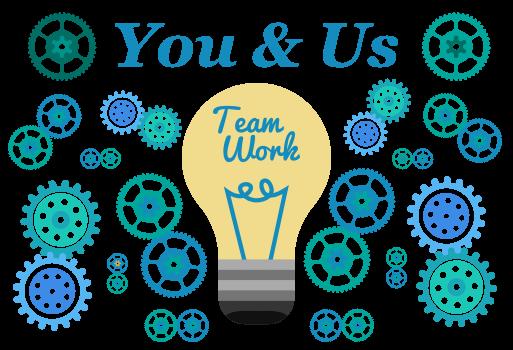 Gears and light bulb illustrating team work