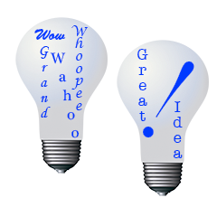 Two light bulbs illustrating great ideas