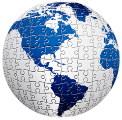 World globe made of puzzle pieces